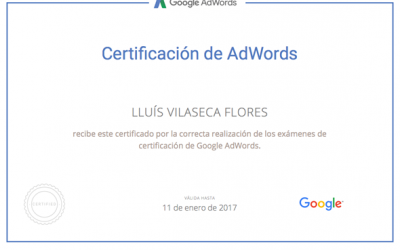 Disposem del certificat oficial de Google Adwords