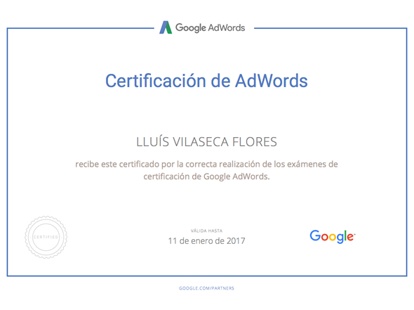 Disponemos del certificado oficial de Google Adwords