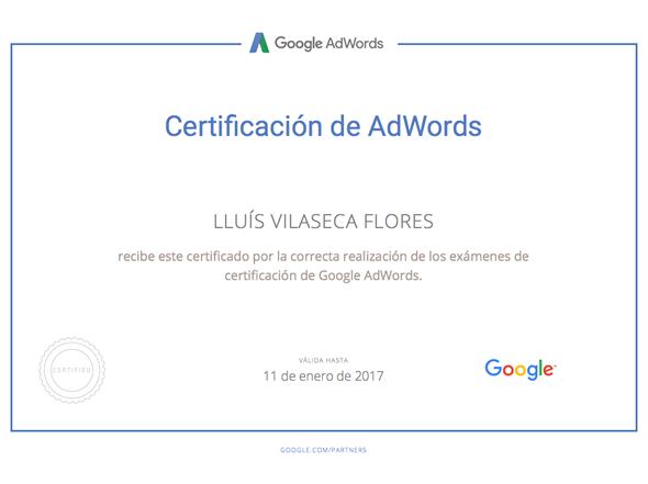 Disposem del certificat oficial de Google Adwords